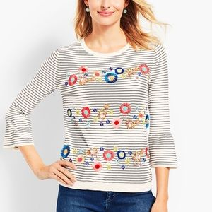 Talbots Floral Row Sweater